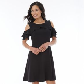 Women's AB Studio Cold Shoulder Ruffle Fit & Flare Dress