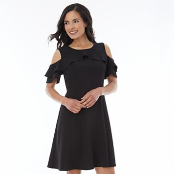 Women's AB Studio Cold Shoulder Ruffle Fit & Flare Dress