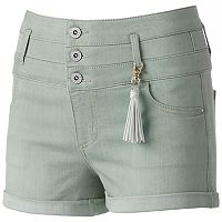 Juniors' Tinseltown Crush Color Triple Stack Shortie Shorts