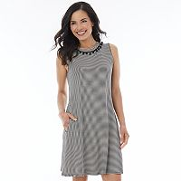 Women's AB Studio Striped Pom-Pom Shift Dress