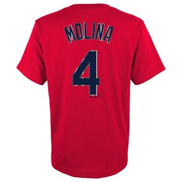 Boys 8-20 Majestic St. Louis Cardinals Yadier Molina Metal Grid Player Name and Number Tee