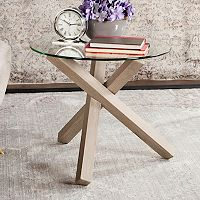 Safavieh Glass Top Round End Table