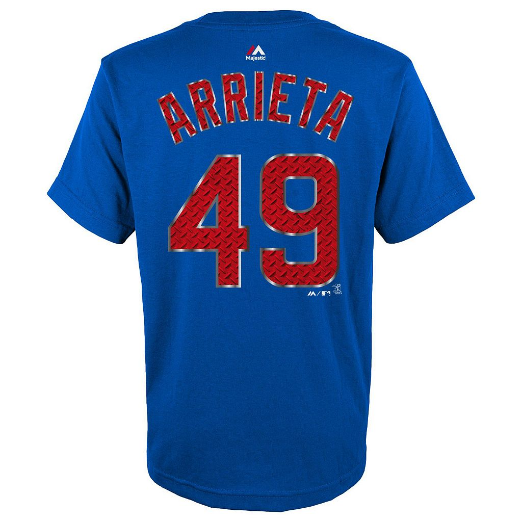 Boys 8-20 Majestic Chicago Cubs Jake Arrieta Metal Grid Player Name and Number Tee