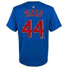 Boys 8-20 Majestic Chicago Cubs Anthony Rizzo Metal Grid Player Name and Number Tee