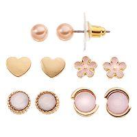 LC Lauren Conrad Pink Flower, Heart & Circle Stud Earring Set