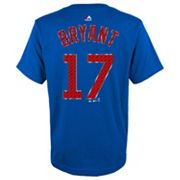 Boys 8-20 Majestic Chicago Cubs Kris Bryant Metal Grid Player Name and Number Tee