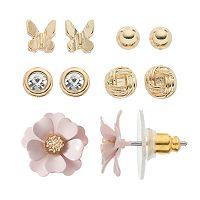 LC Lauren Conrad Flower, Butterfly & Knot Stud Earring Set