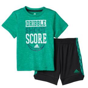 "Toddler Boy adidas ""Dribble, Shoot & Score"" Basketball Tee & Shorts Set"