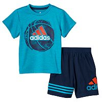 Toddler Boy adidas Sports Ball Graphic Tee & Mesh Shorts Set