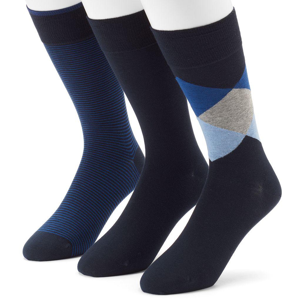 Men's 3-pack Marc Anthony Diamond, Solid & Striped Dress Socks