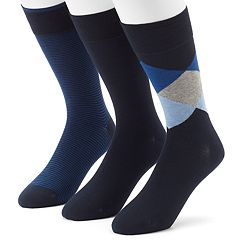 Men's 3-pack Marc Anthony Diamond, Solid & Striped Dress Socks