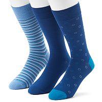 Men's 3-pack Marc Anthony Circle, Solid & Striped Dress Socks