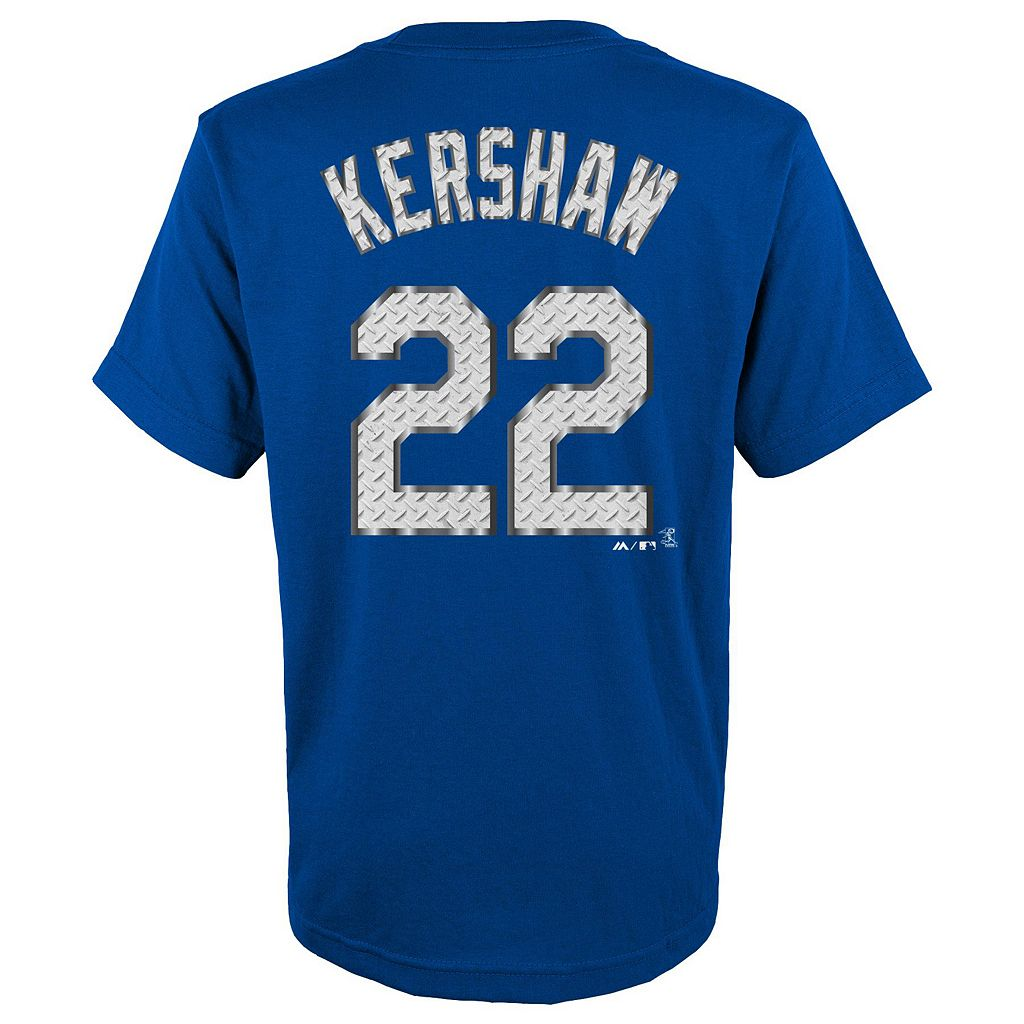 Boys 8-20 Majestic Los Angeles Dodgers Clayton Kershaw Metal Grid Player Name and Number Tee