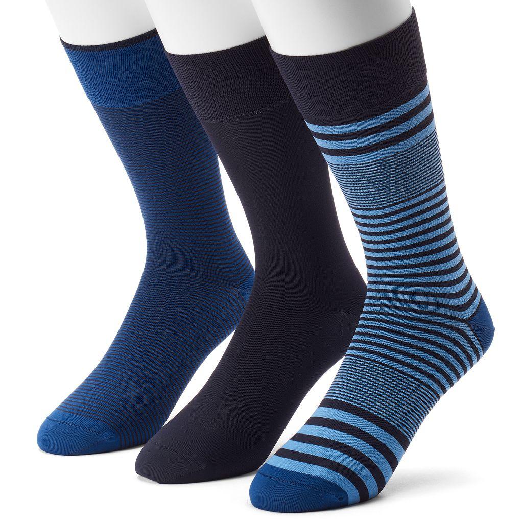 Men's 3-pack Marc Anthony Striped & Solid Microfiber Dress Socks