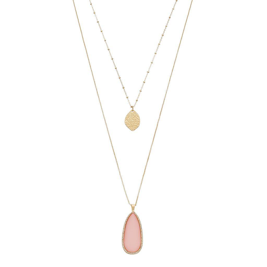 LC Lauren Conrad Layered Leaf & Pink Teardrop Pendant Necklace
