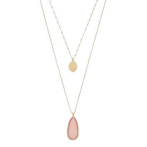 LC Lauren Conrad Layered Leaf & Pink Teardrop Pendant Necklace