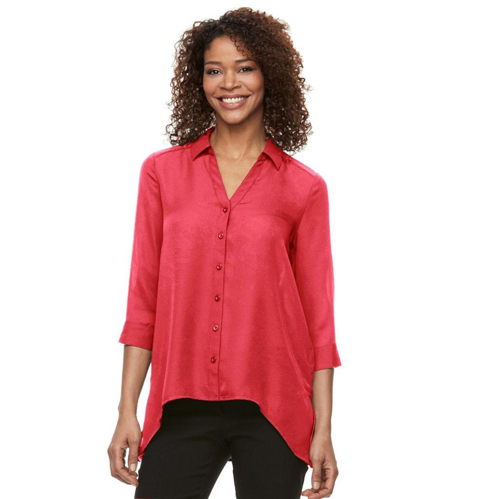 Women's Dana Buchman High-Low Chiffon Shirt