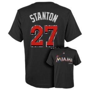 Boys 8-20 Majestic Miami Marlins Giancarlo Stanton Metal Grid Player Name and Number Tee