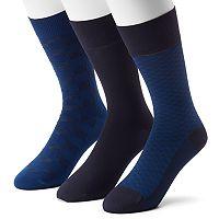 Men's 3-pack Marc Anthony Patterned & Solid Microfiber Dress Socks