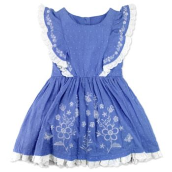 Girls 4-6x Nanette Embroidered Swiss Dot Dress