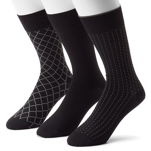 Men's 3-pack Marc Anthony Diamond & Solid Microfiber Dress Socks