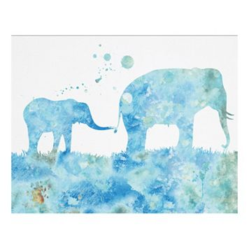 Mom & Baby Elephant 3 Canvas Wall Art