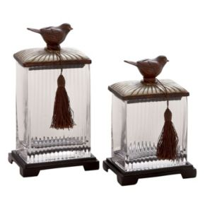 Bird Fluted Glass Canister Table Decor 2-piece Set