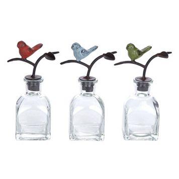 Songbird Glass Bottle Table Decor 3-piece Set