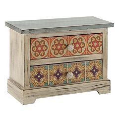 Rustic Floral 2-Drawer Trinket Table Decor