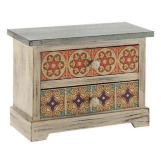 Rustic Floral 2-Drawer Trinket Table Decor