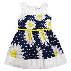 Toddler Girl Nannette Daisy & Polka-Dot Printed Poplin Dress