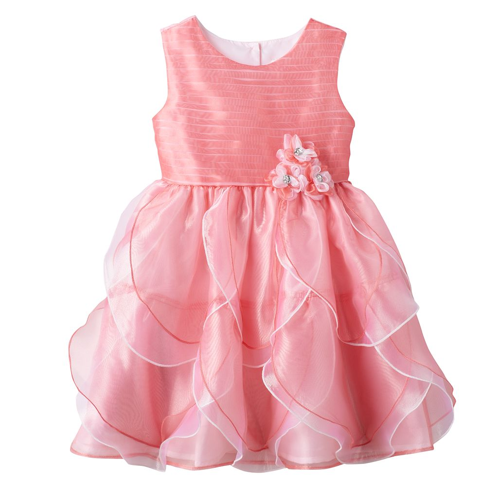 Toddler Girl Nannette Pink Organza Petal Dress