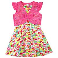 Toddler Girl Nanette Print Scuba Dress with Lace Shrug