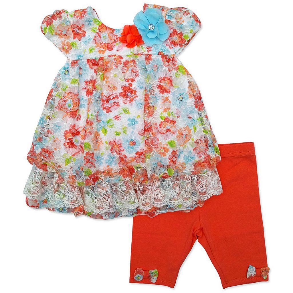 Baby Girl Nannette Floral Lace Bubble-Hem Top & Bow Capri Leggings Set