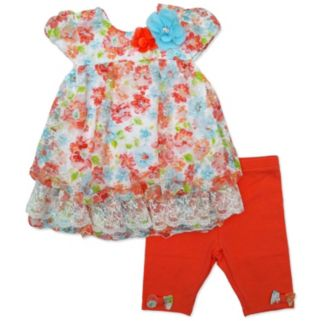 Baby Girl Nannette Floral Lace Bubble-Hem Top & Bow Capri Leggings Set