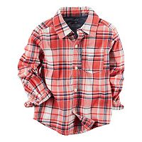 Boys 4-8 Carter's Twill Plaid Button-Down Shirt