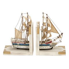 Wood Boat Bookends 2-piece Set