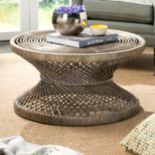 Safavieh Wide Bowed Wicker Coffee Table