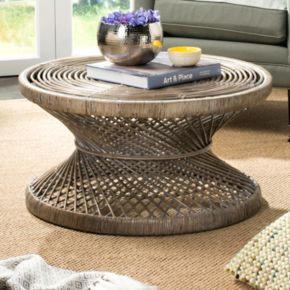 Safavieh Wide Bowed Wicker Coffee Table