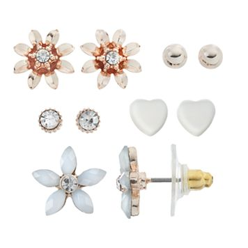 LC Lauren Conrad Flower & Heart Stud Earring Set