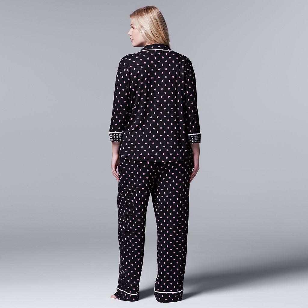 Plus Size Simply Vera Vera Wang Pajamas: Evening Oasis Top & Pants PJ Set