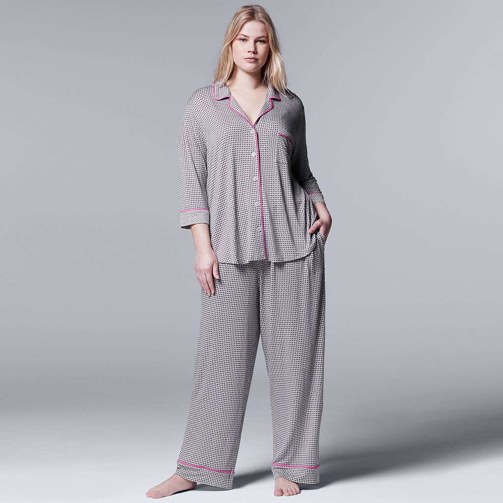 Plus Size Simply Vera Vera Wang Pajamas: Evening Oasis Top & Pants PJ Set