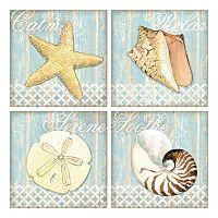 Spa Shells Canvas Wall Art 4 pc Set