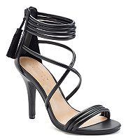 LC Lauren Conrad Women's Crisscross Ankle Cuff High Heels