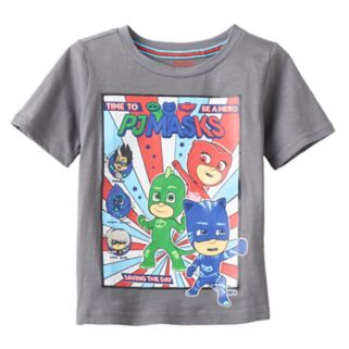 "Toddler Boy PJ Masks Gray ""Time to be a Hero"" Owlette, Gekko & Catboy Graphic Tee"