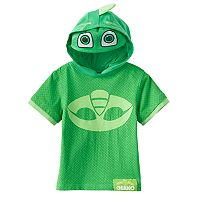 Toddler Boy PJ Masks Gekko 3D Ears & Eye Mask Hooded Tee