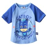 "Toddler Boy PJ Masks ""Catboy Super Cat Speed"" Raglan Short Sleeve Graphic Tee"