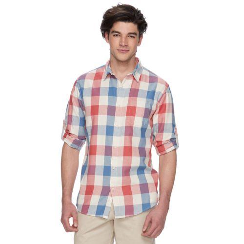Big & Tall Urban Pipeline® Plaid Roll-Tab Button-Down Shirt