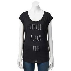 Juniors' 'Little Black Tee' Cap Sleeve Graphic Tee