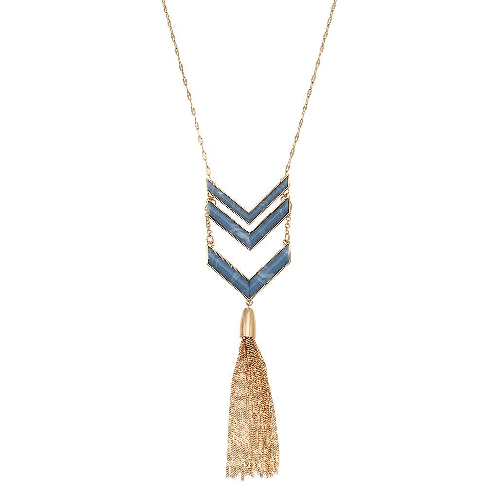 Blue Marbled Chevron Long Tassel Y Necklace